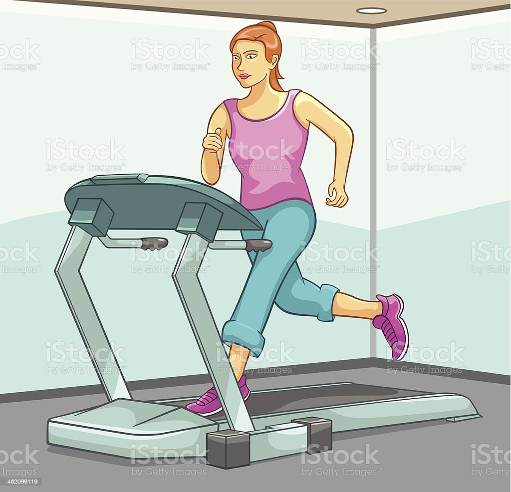 Female Running on Treadmill royalty-free stock vector art