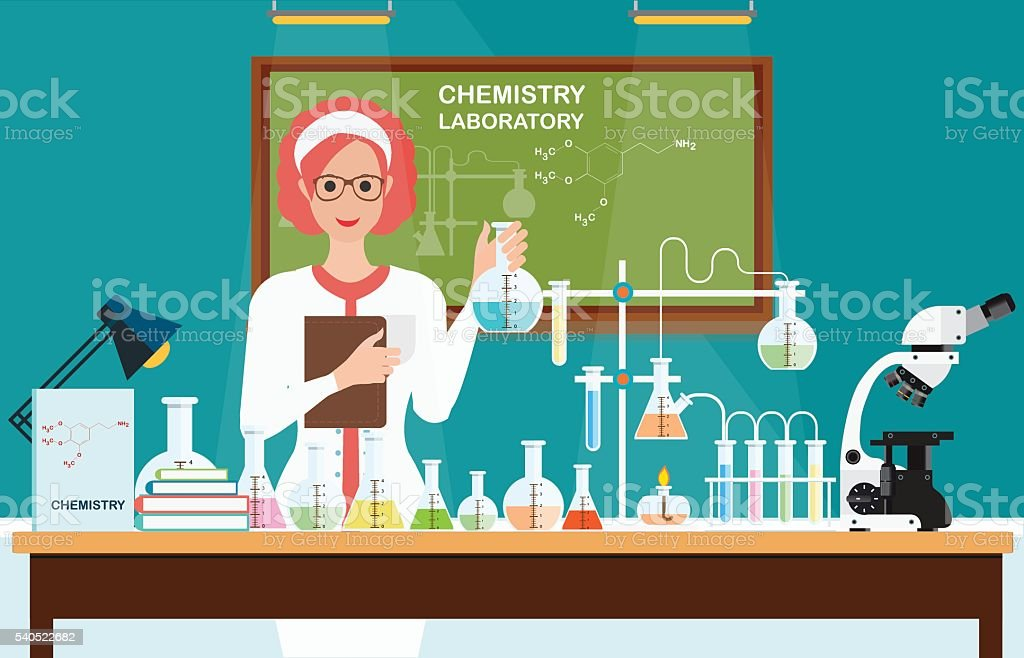 Female scientist at Chemical laboratory Science . vector art illustration