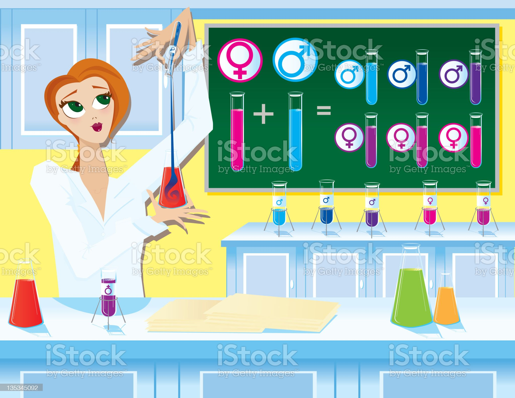 Female Scientist Working in Laboratory with Test Tubes royalty-free stock photo