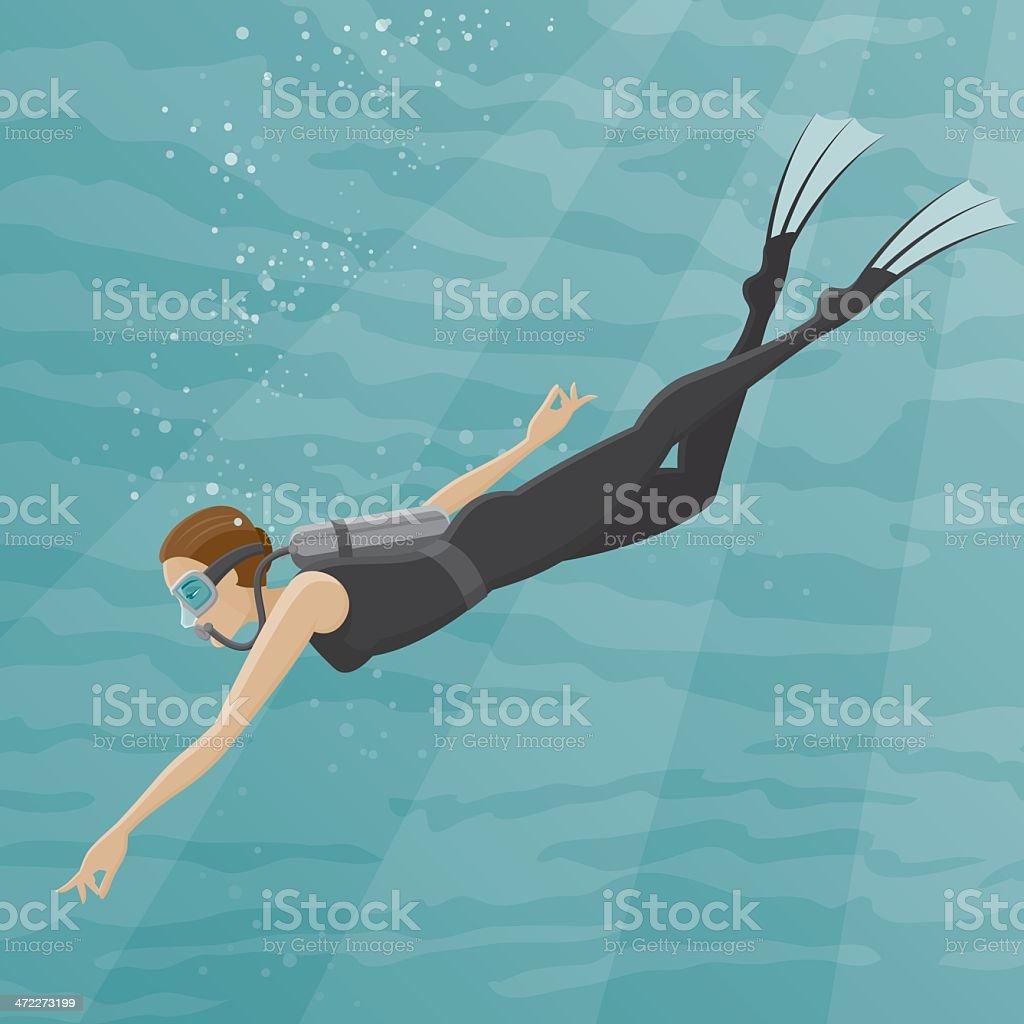 Female Scuba Diver royalty-free stock vector art