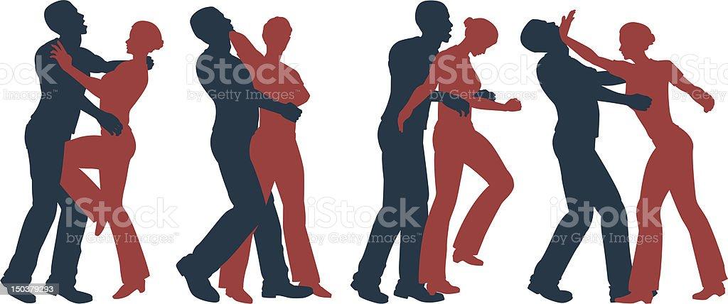 Female self defense vector art illustration