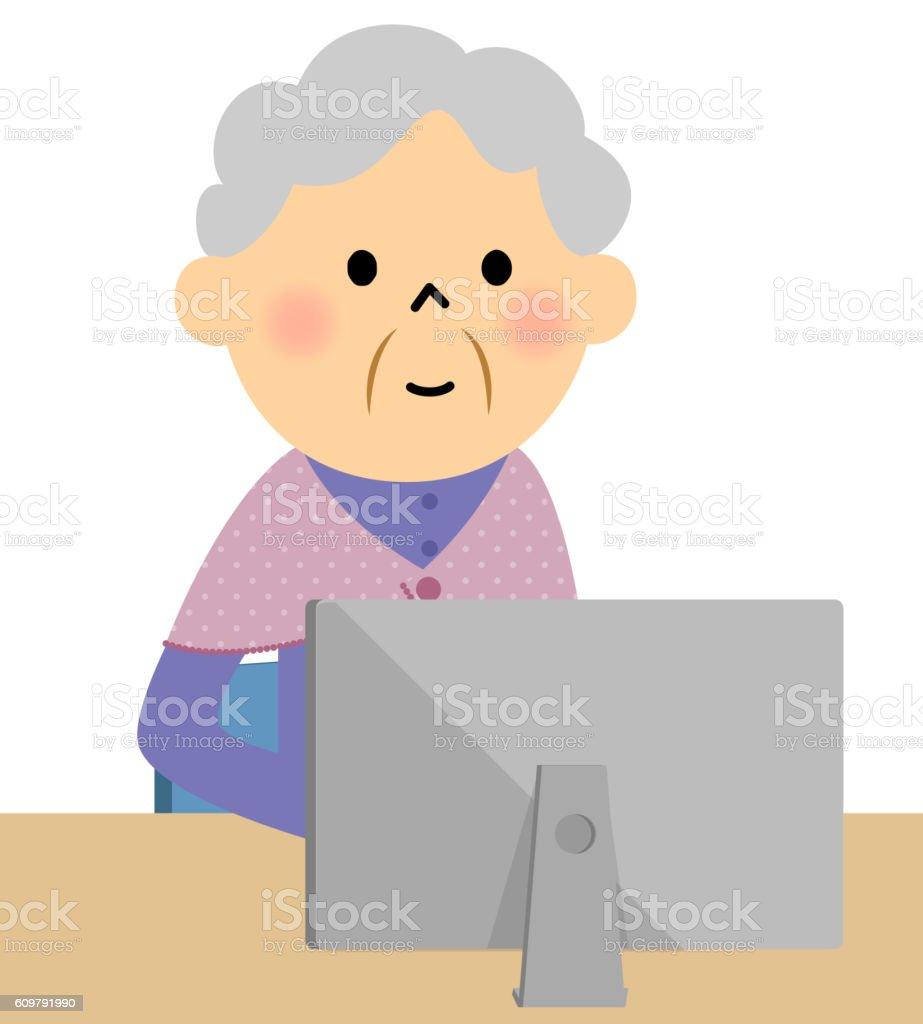 Female senior citizen,PC vector art illustration