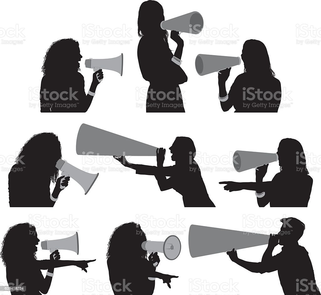 Female shouting with megaphone vector art illustration