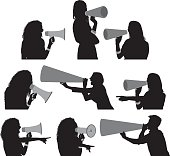 Female shouting with megaphone