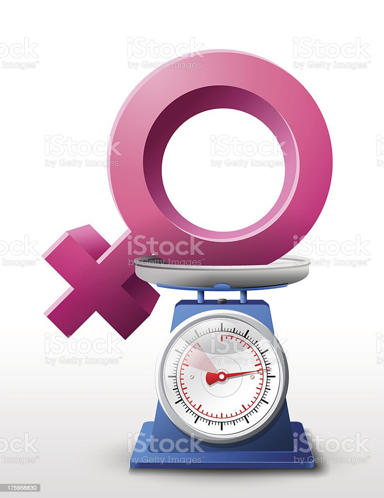 Female sign on scale pan royalty-free stock vector art