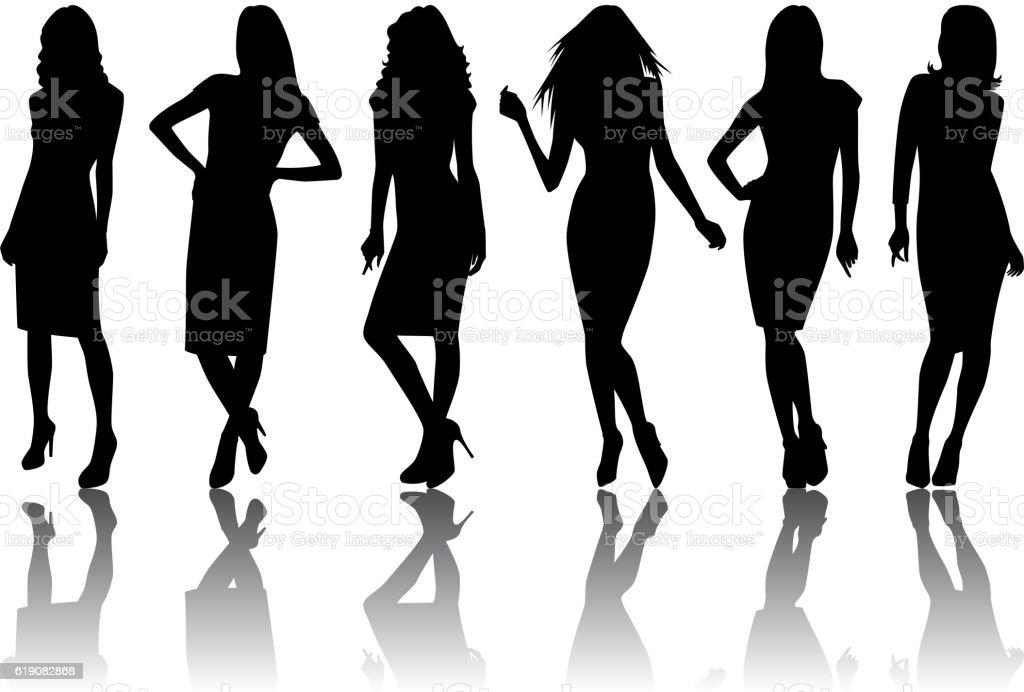 Female silhouette set vector art illustration