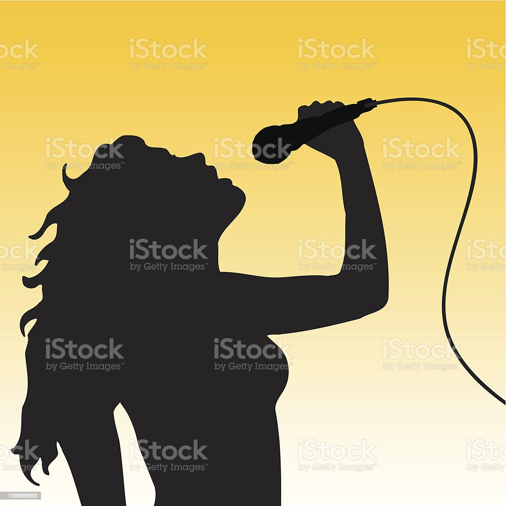 A female singer holding a Mike and singing with feelings vector art illustration