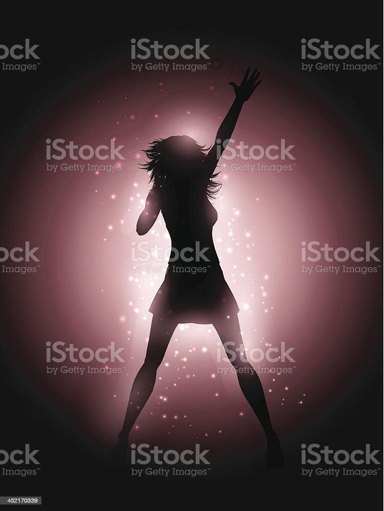 Female singer performing vector art illustration