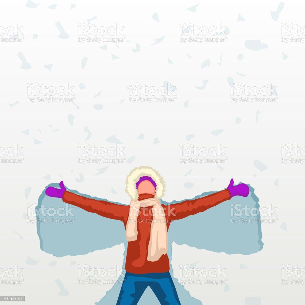 female snow angel vector art illustration