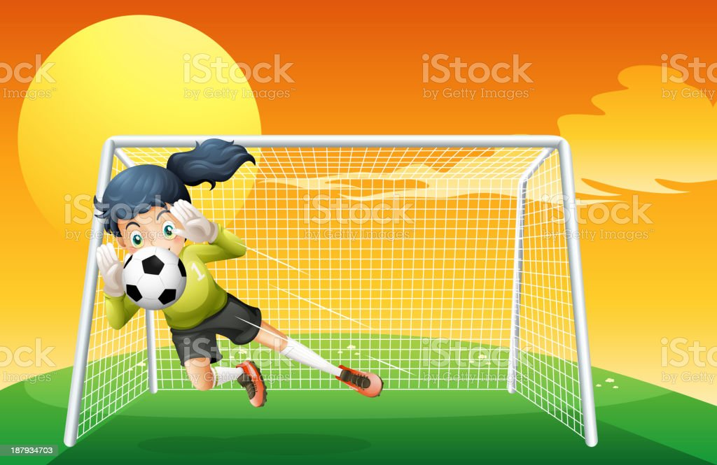 Female soccer player catching the ball royalty-free stock vector art