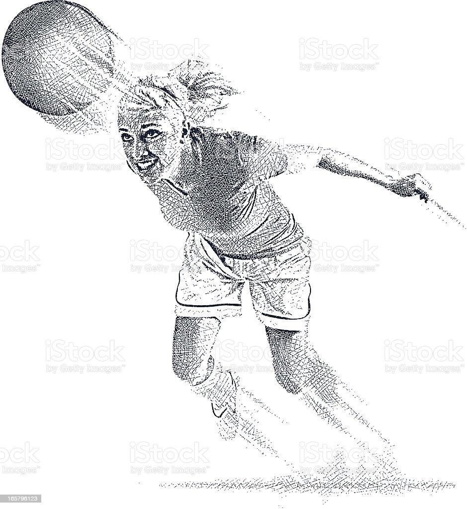 Female Soccer Player Heading The Ball royalty-free stock vector art