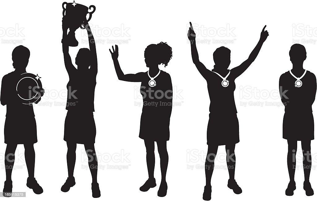 Female Sports Winners vector art illustration