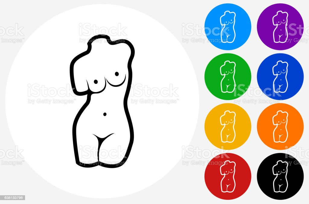 Female Statue Icon on Flat Color Circle Buttons vector art illustration
