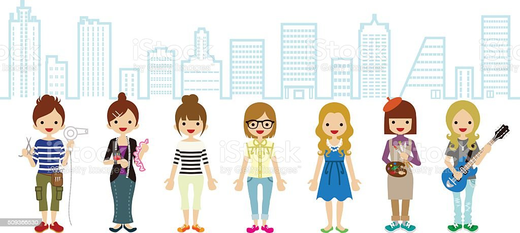 Female Student and Professional Occupation- Cityscape Background vector art illustration