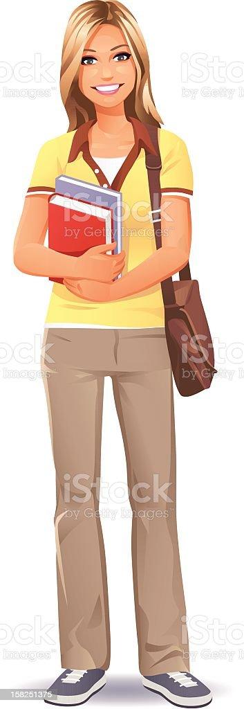 Female Student (blonde) vector art illustration