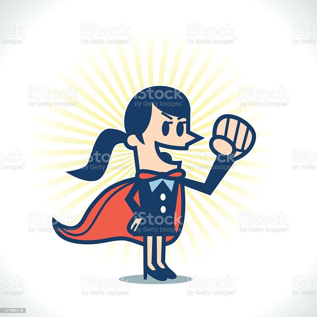 Female Super Hero vector art illustration