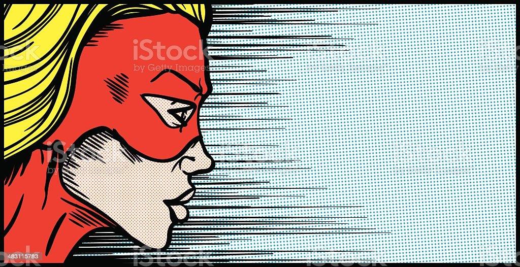 Female superhero face profile vector art illustration