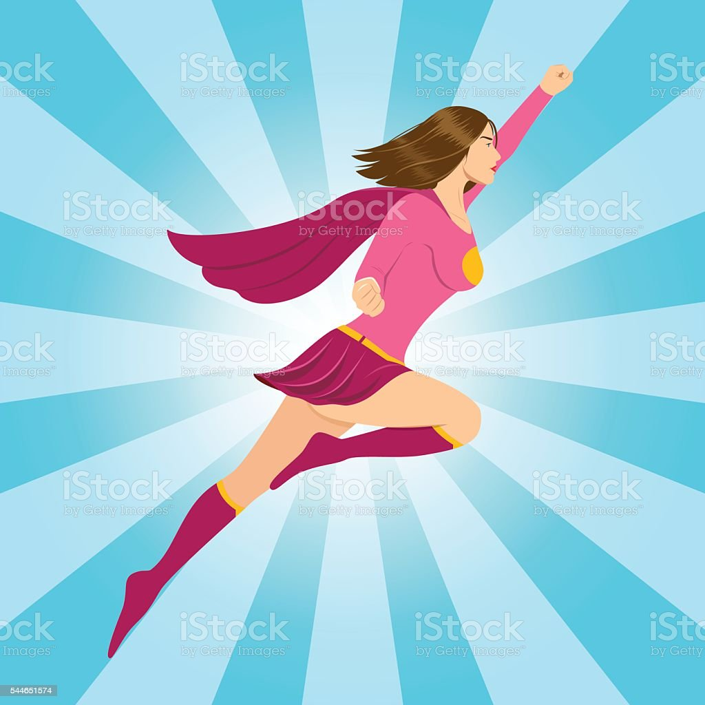 Female Superhero Flying with Clenched Fist vector art illustration
