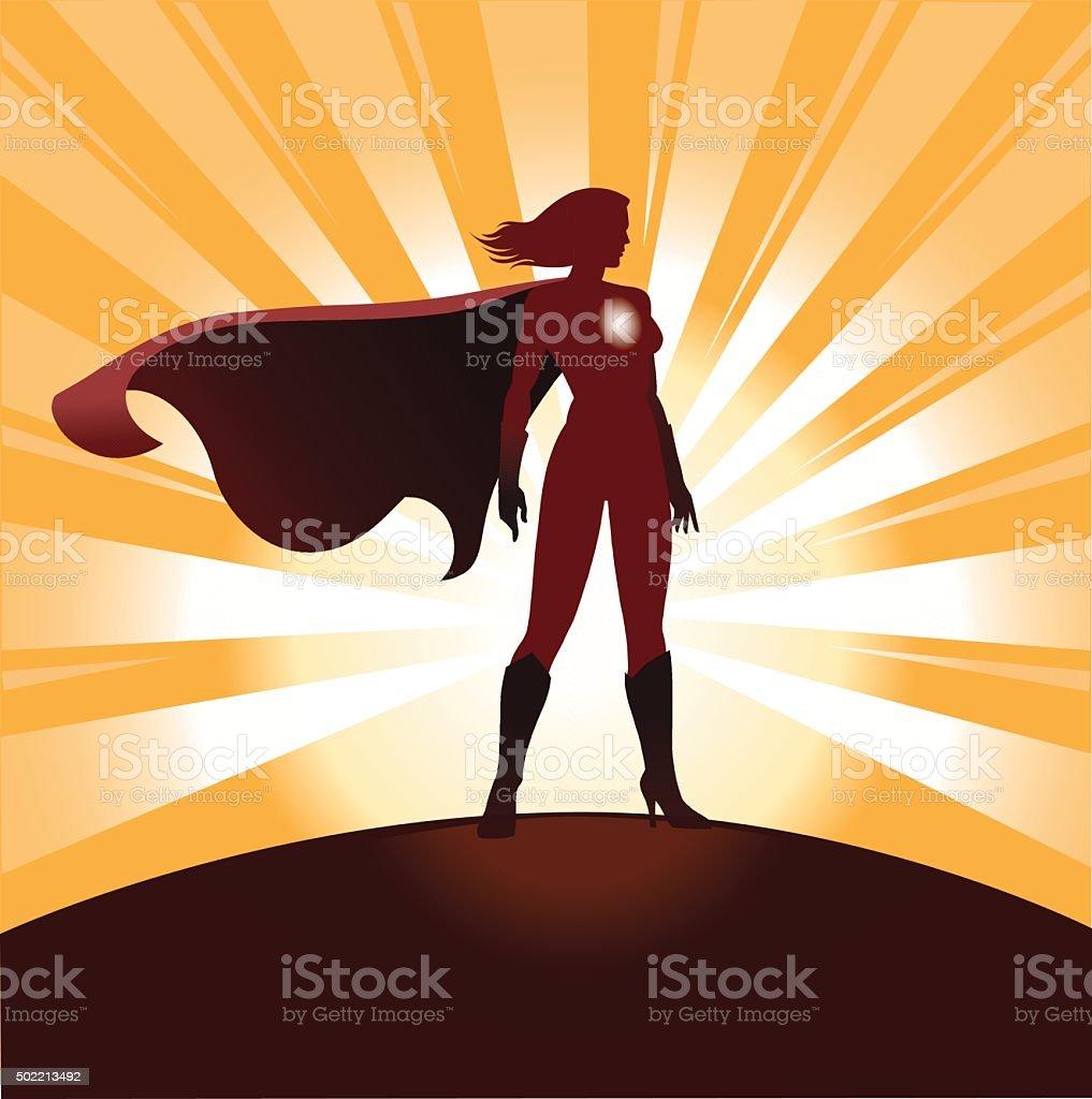 Female Superhero Silhouette with Sunrays vector art illustration