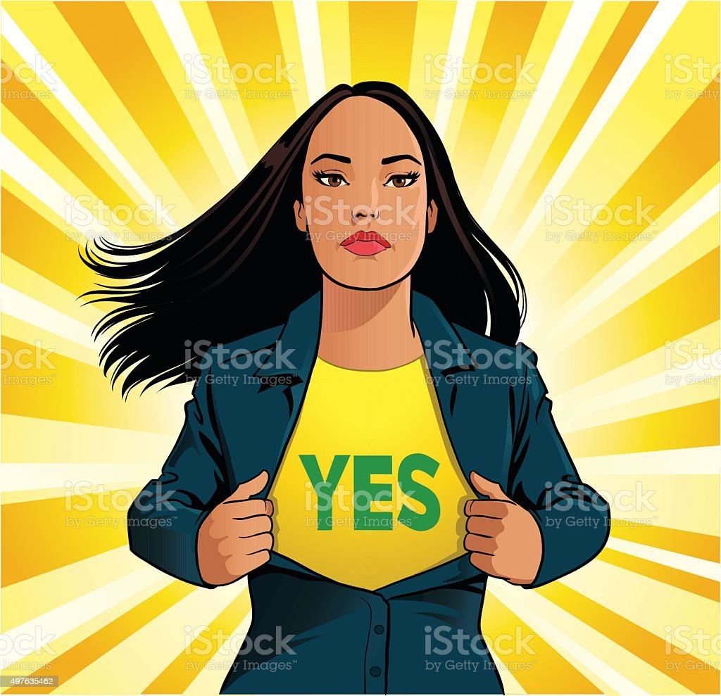 Female Superhero Tearing Off Shirt With Yes Sign vector art illustration
