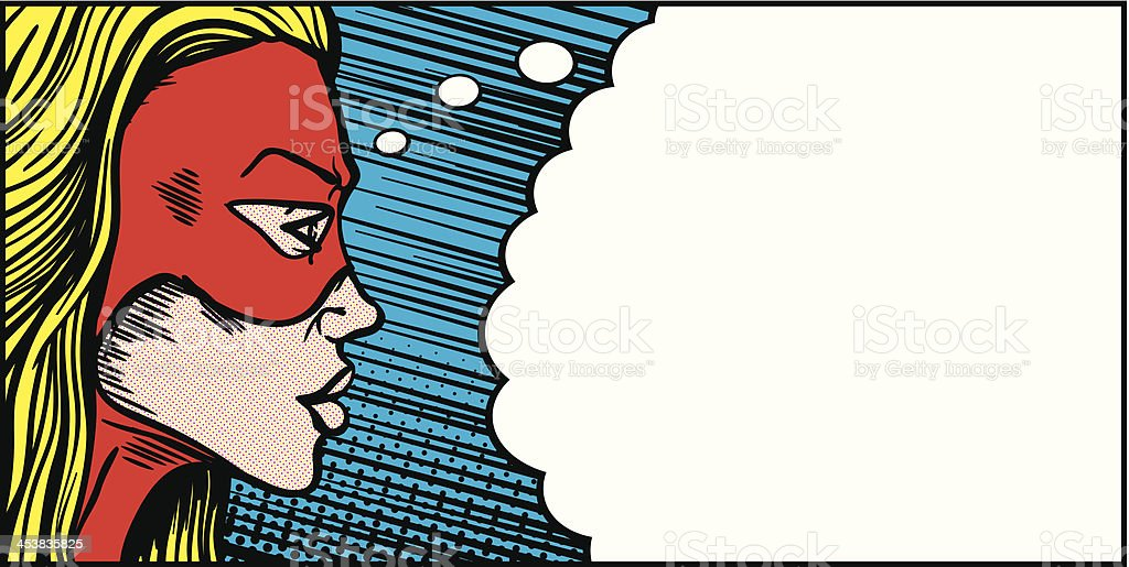 Female superhero thought bubble vector art illustration