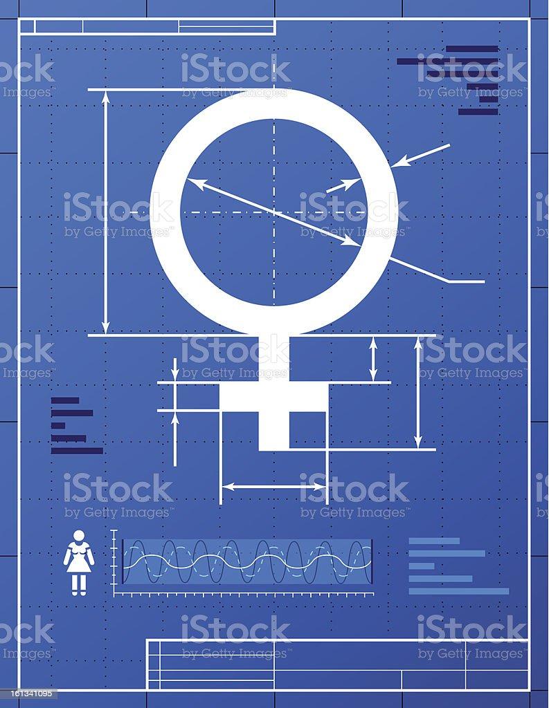 Female symbol like blueprint drawing vector art illustration