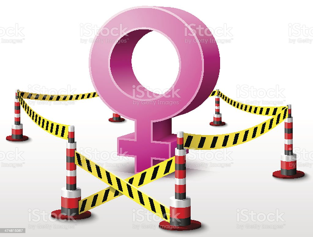 Female symbol located in restricted area vector art illustration