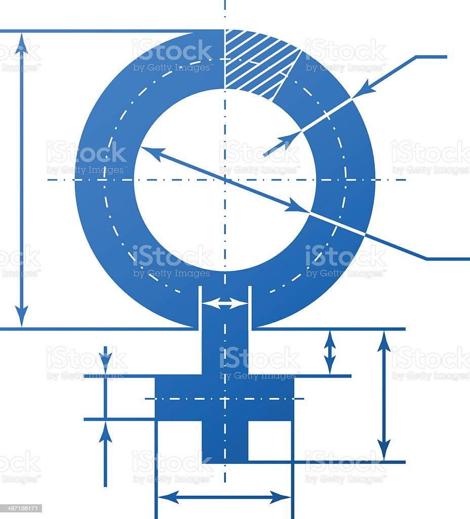 Female symbol with dimension lines vector art illustration