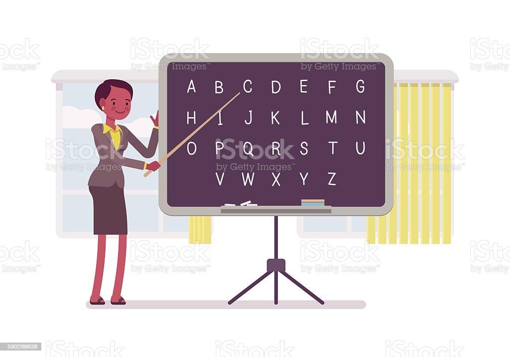 Female teacher is teaching alphabet vector art illustration