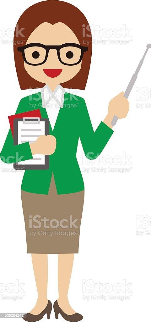Female Teacher vector art illustration