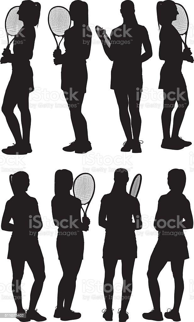 Female tennis player standing vector art illustration