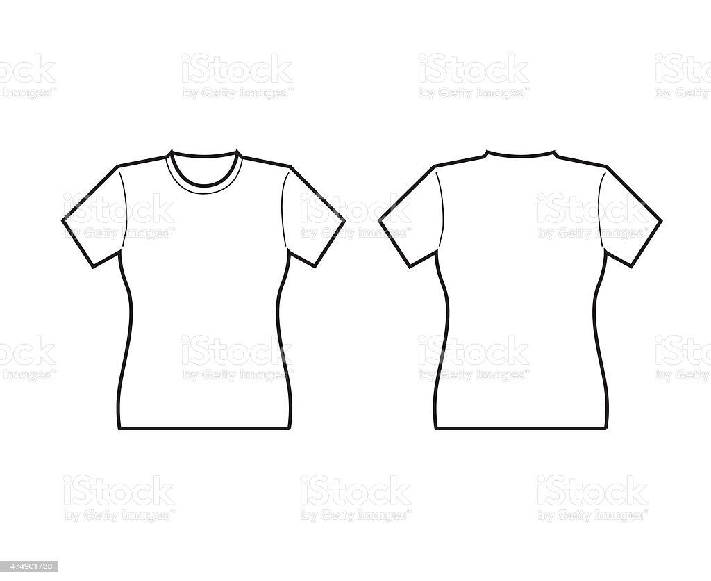 White t shirt front and back template - Female T Shirt Template Front And Back Royalty Free Stock Vector Art