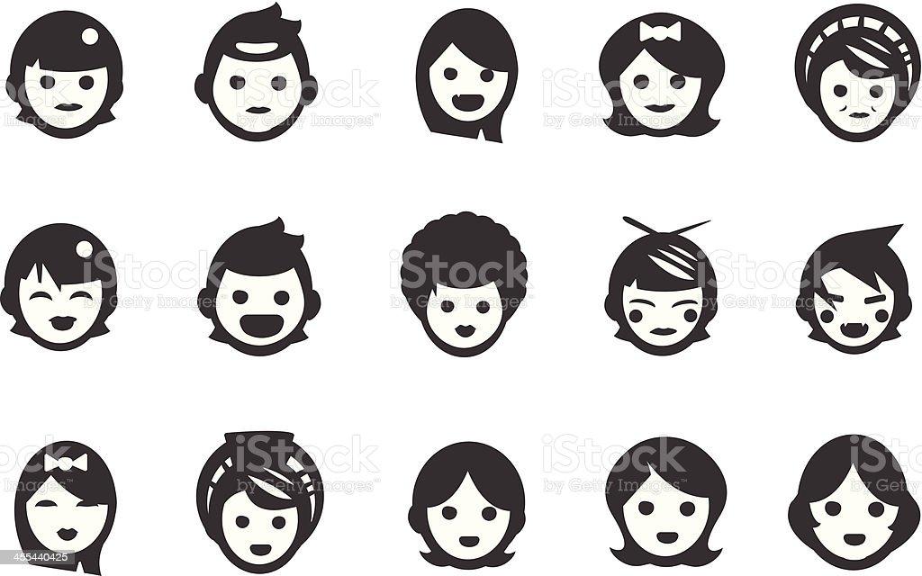 Female User Icons vector art illustration
