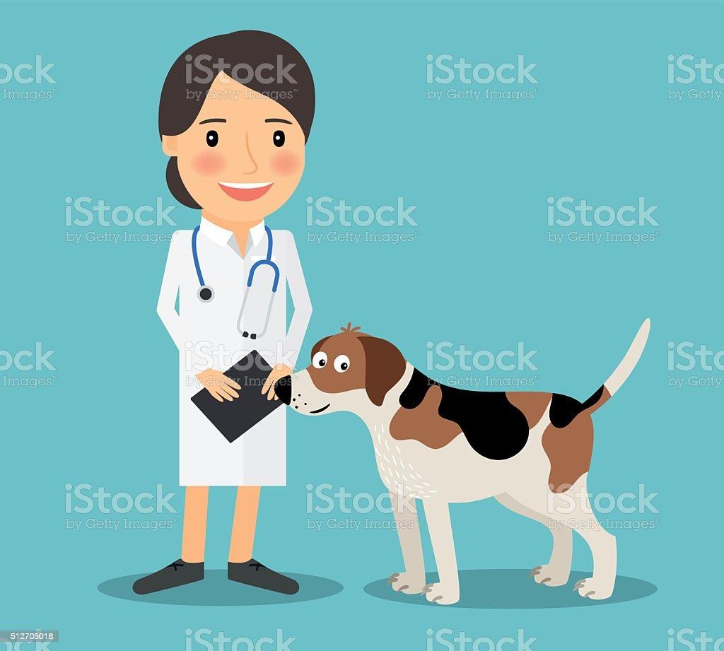 Female Veterinarian Doctor vector art illustration