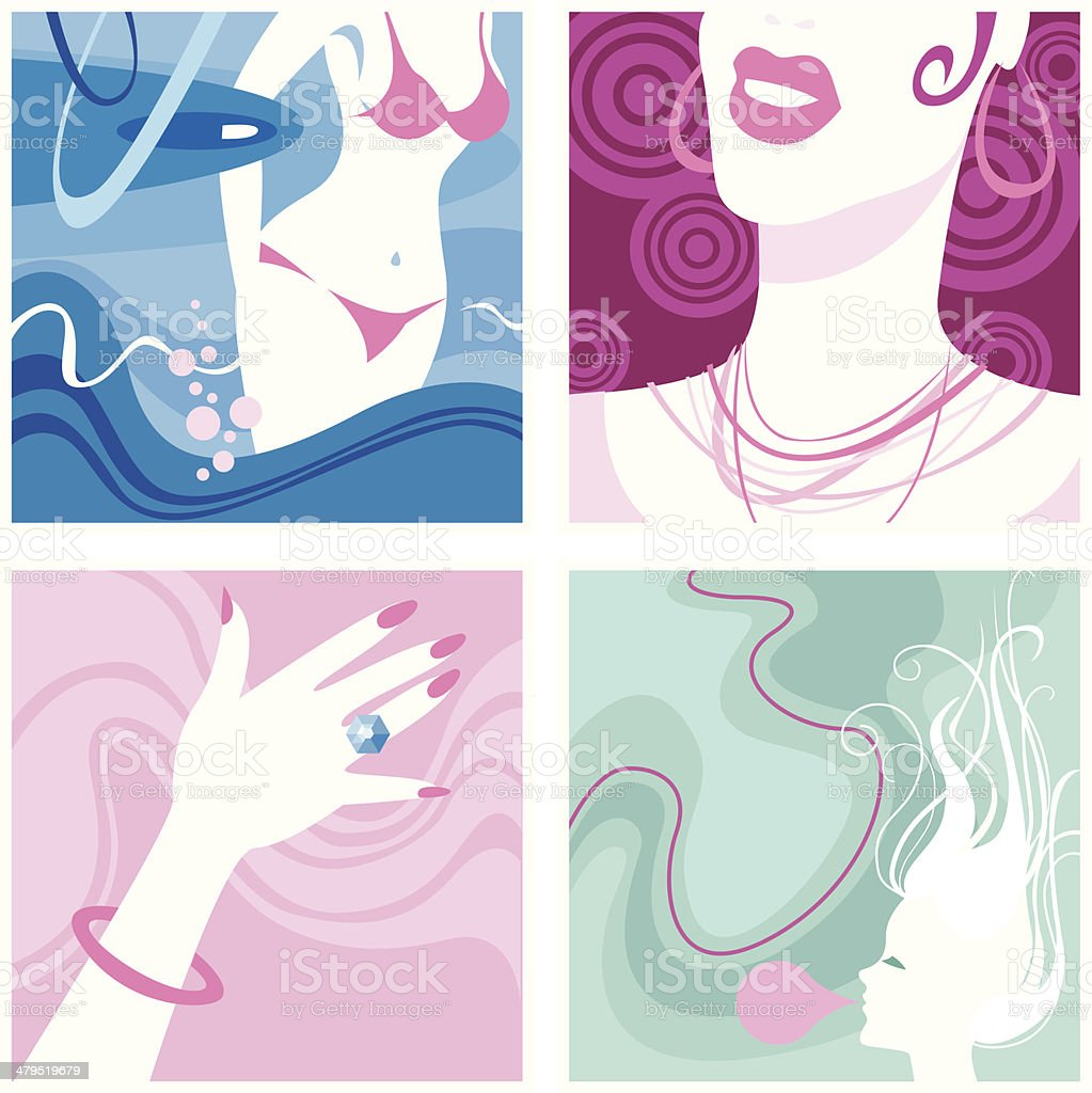 Female vignettes royalty-free stock vector art