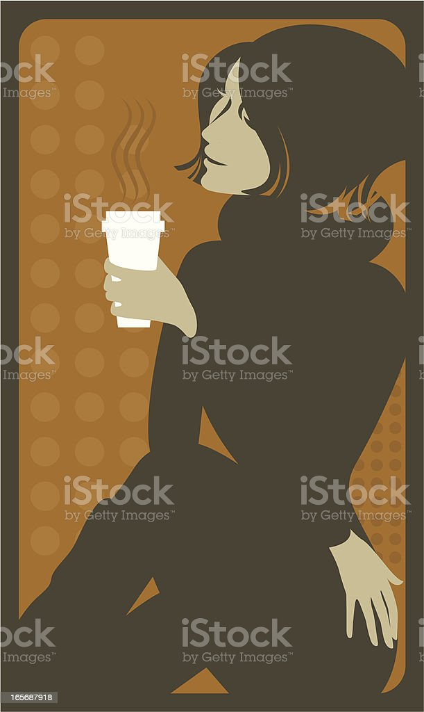 Female with a cup of coffee. vector art illustration