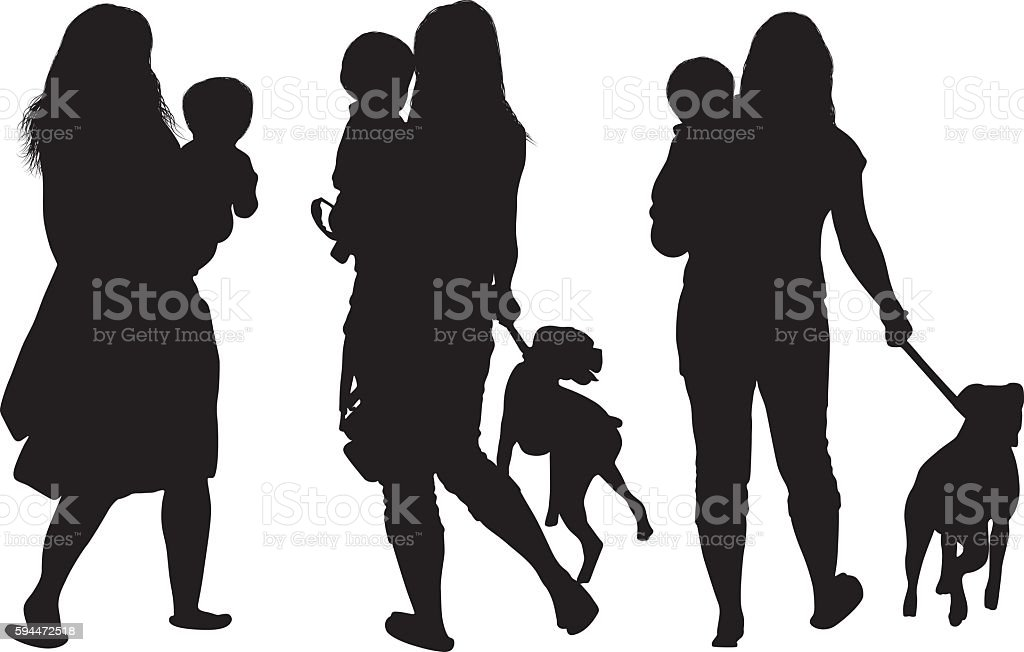 Female with her baby and dog vector art illustration