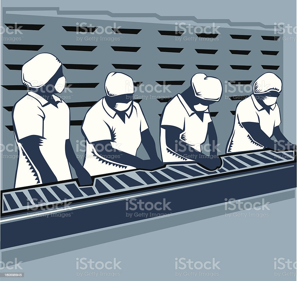 female workers at production line vector art illustration