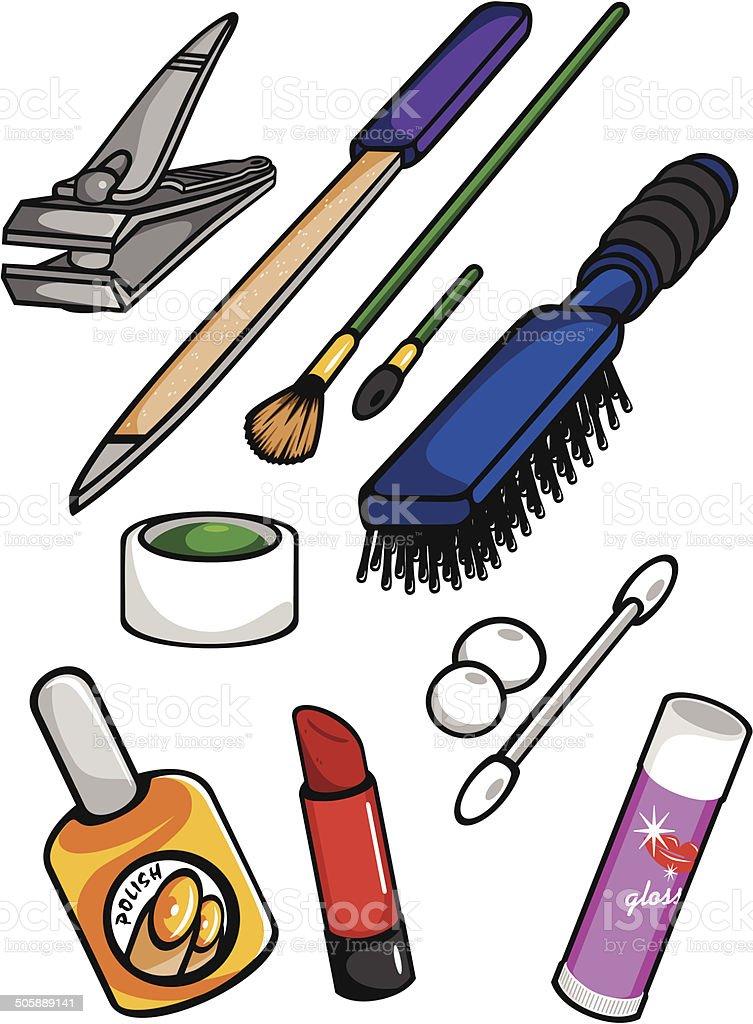 Feminine Toiletry Items vector art illustration