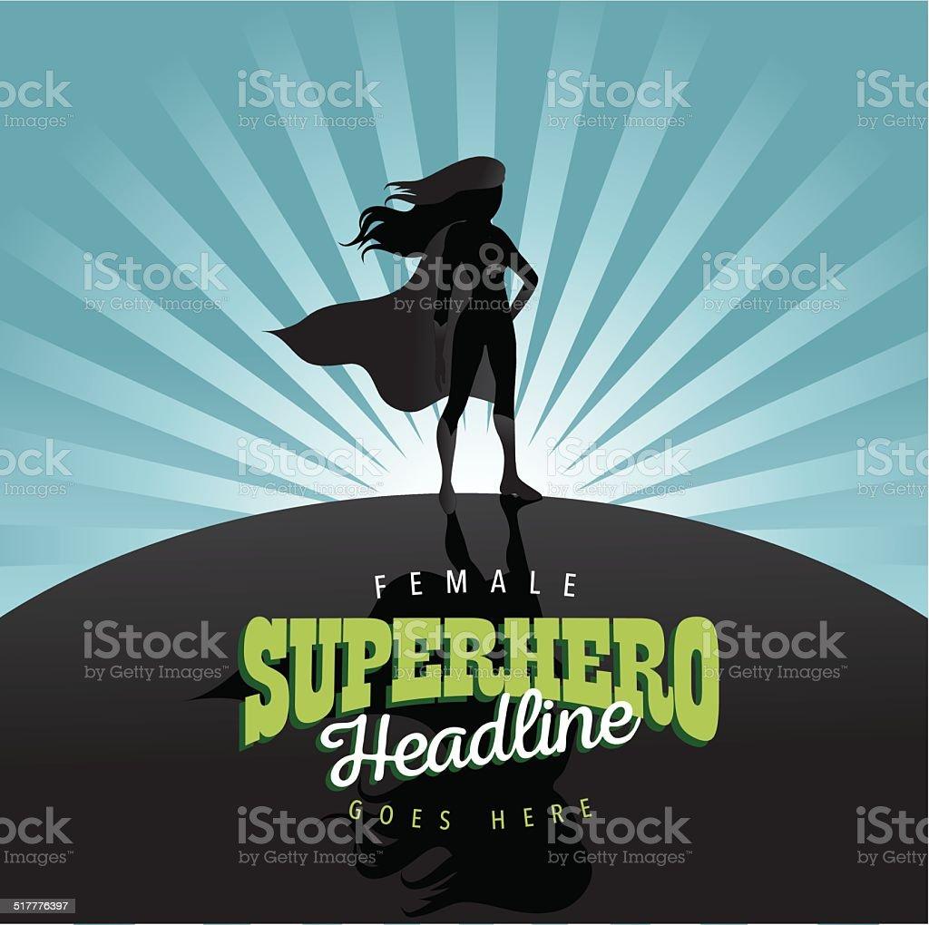 Feminist superhero burst background vector art illustration