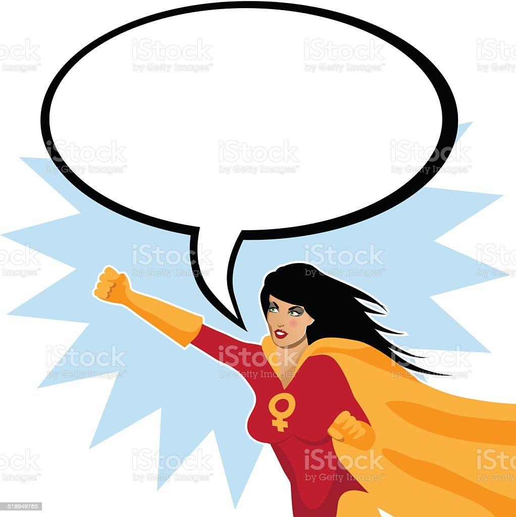 Feminist superwoman with speech bubble vector art illustration