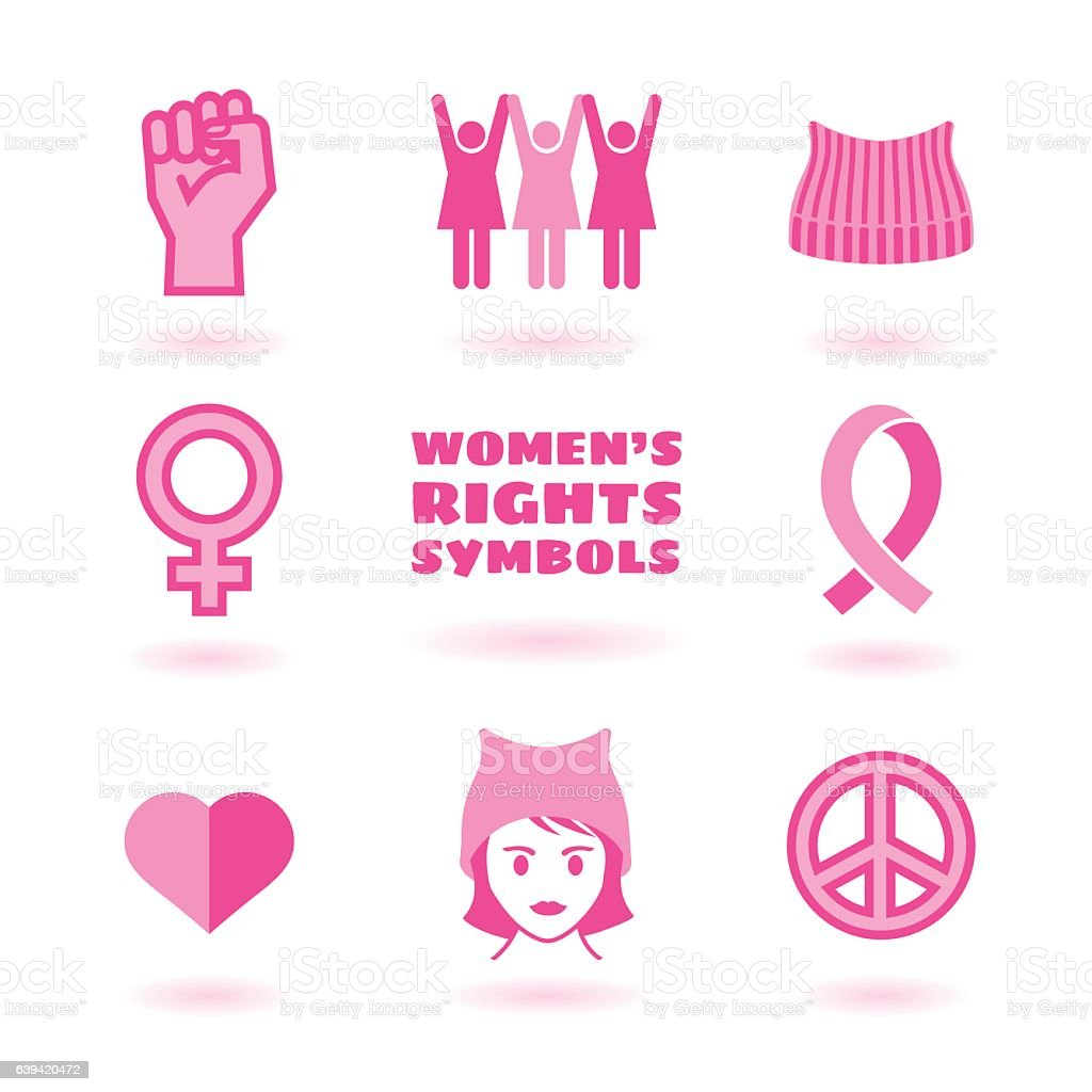 feminist symbols set promoting women's rights vector art illustration