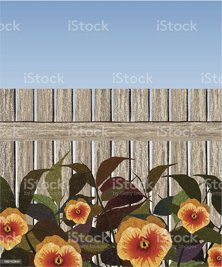 fence and yellow flowers royalty-free stock vector art