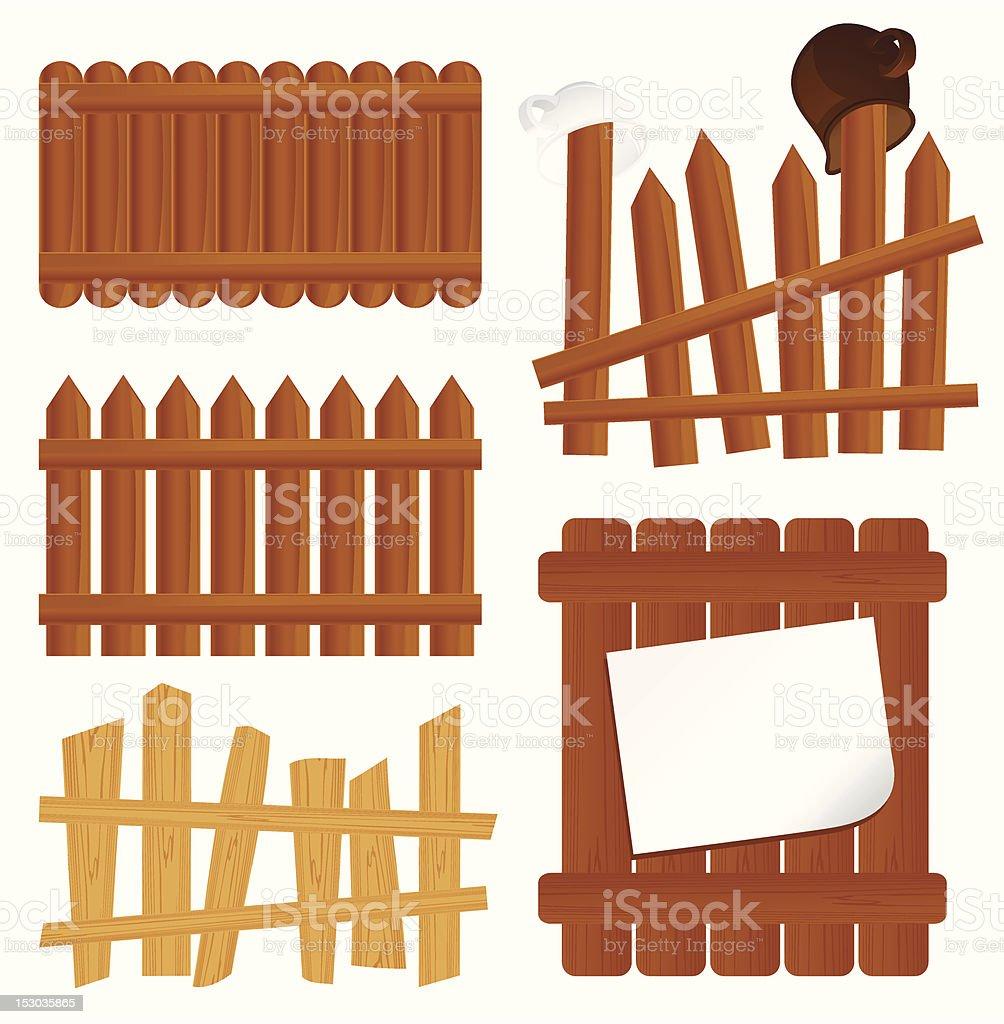 Fence set vector art illustration