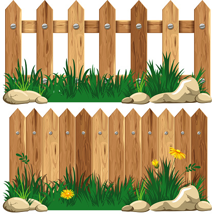 Cartoon Of Rustic Fence Clip Art Vector Images Illustrations - Cartoon fence clip art