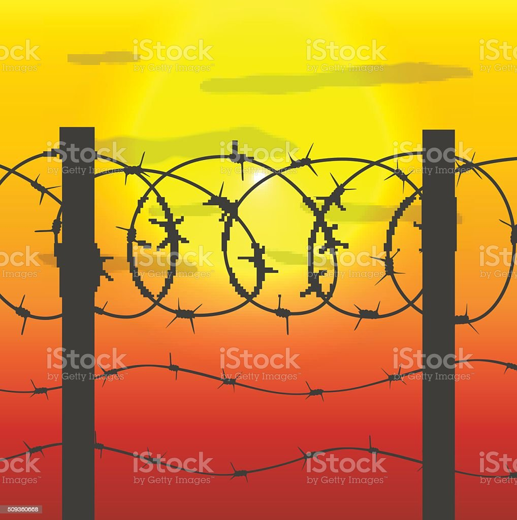 fence with barbed wire vector art illustration