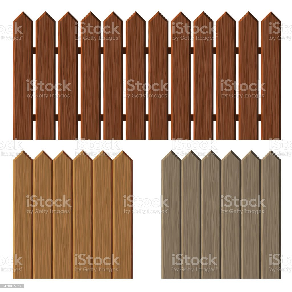 Fence with different wooden texture pattern royalty-free stock vector art