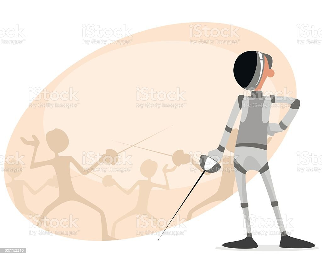 Fencer with rapier vector art illustration