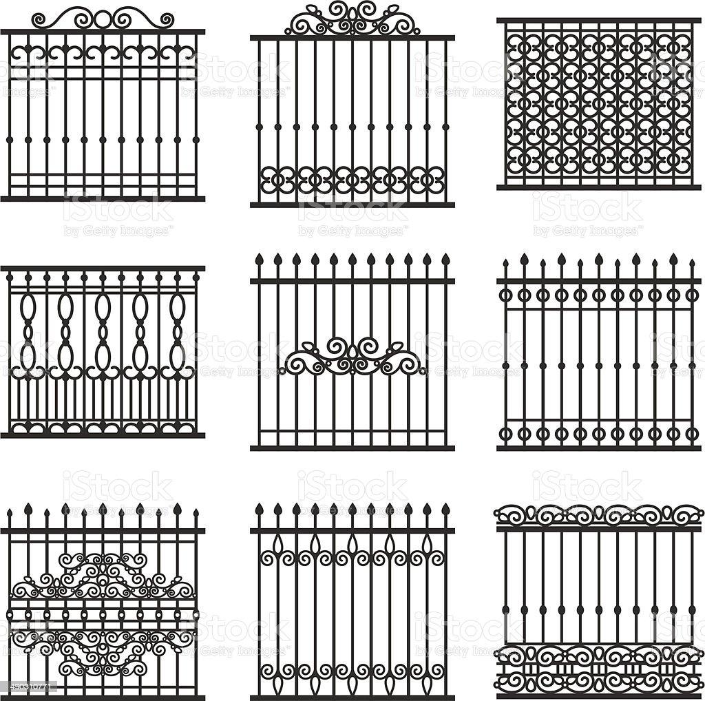 fences set vector art illustration