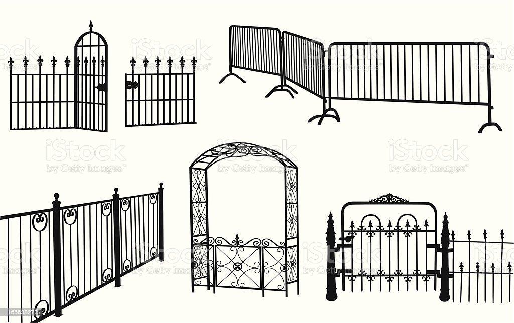 Fences Vector Silhouette vector art illustration